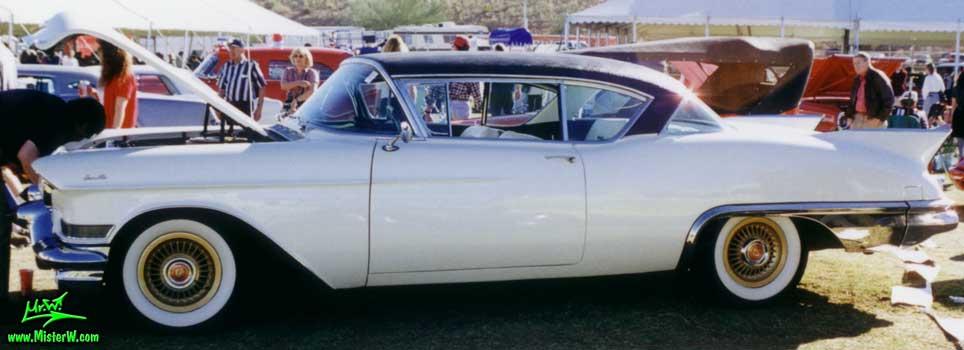 Photo of a white 1957 Cadillac Eldorado SeVille 2 Door Hardtop Coupe at a classic car auction in Scottsdale, Arizona. 1957 Cadillac Eldorado SeVille