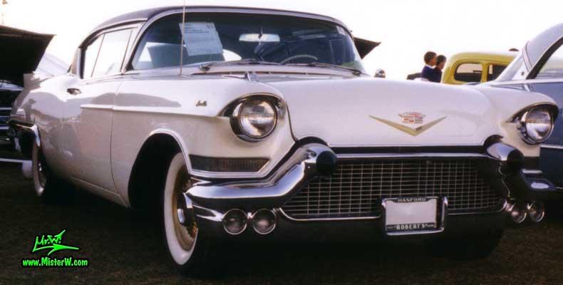 Photo of a white 1957 Cadillac Eldorado SeVille 2 Door Hardtop Coupe at a classic car auction in Scottsdale, Arizona. 1957 Cadillac Eldorado SeVille at a classic car auction in Scottsdale, Arizona