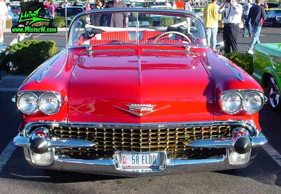 Photo of a red 1958 Cadillac Eldorado Biarritz Convertible at the Scottsdale Pavilions Classic Car Show in Arizona. 1958 Cadillac Eldorado