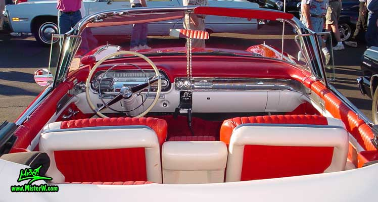 Photo of a red 1958 Cadillac Eldorado Biarritz Convertible at the Scottsdale Pavilions Classic Car Show in Arizona. 1958 Cadillac Eldorado Dashboard
