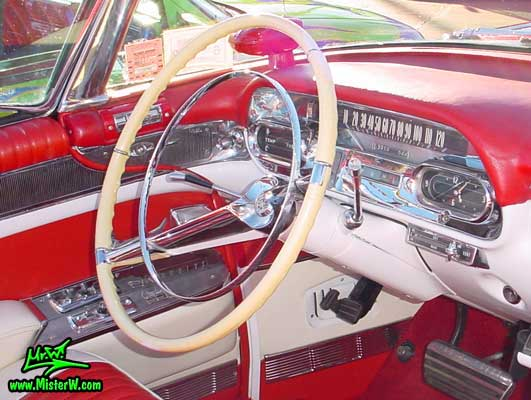 Photo of a red 1958 Cadillac Eldorado Biarritz Convertible at the Scottsdale Pavilions Classic Car Show in Arizona. 1958 Cadillac Eldorado Biarritz Steering Column