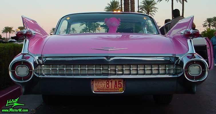 Photo of a pink 1959 Cadillac 2 Door Hardtop Coupe at the Scottsdale Pavilions Classic Car Show in Arizona. 1959 Cadillac Rear Bumper