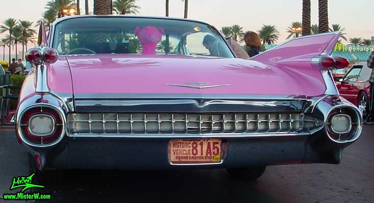 Photo of a pink 1959 Cadillac 2 Door Hardtop Coupe at the Scottsdale Pavilions Classic Car Show in Arizona. Pink 1959 Caddy