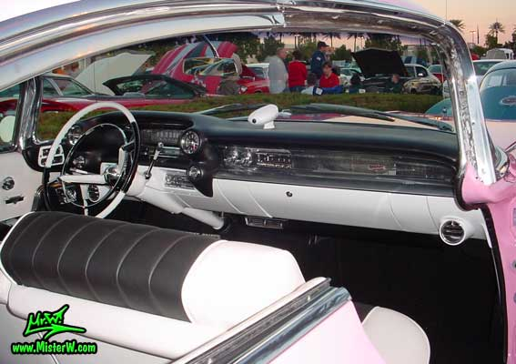 Photo of a pink 1959 Cadillac 2 Door Hardtop Coupe at the Scottsdale Pavilions Classic Car Show in Arizona. 1959 Cadillac Dashboard