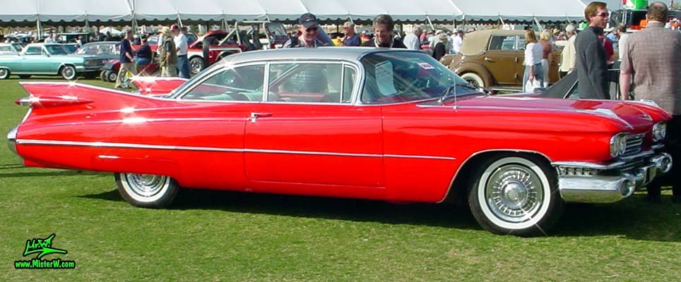 Photo of a red 1959 Cadillac 2 Door Hardtop Coupe at a classic car auction in Scottsdale, Arizona. Red 1959 Cadillac
