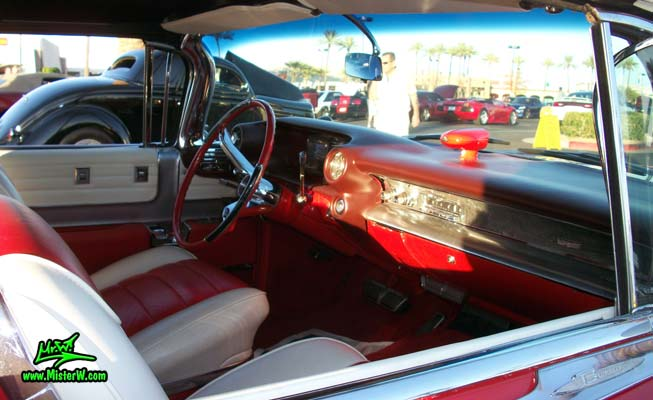 Photo of a red 1959 Cadillac Eldorado Biarritz Convertible at the Scottsdale Pavilions Classic Car Show in Arizona. 59 Cadillac Eldorado Biarritz Convertible Seats & Interior