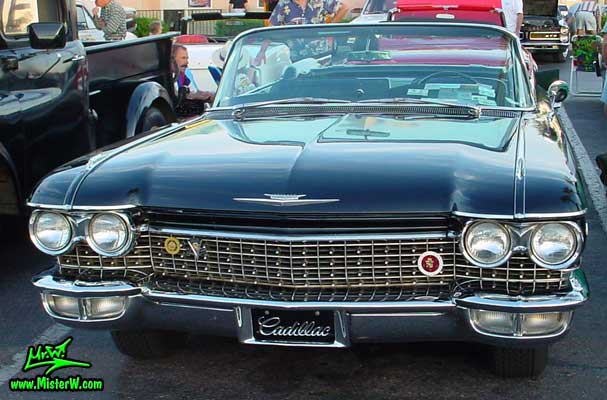 Photo of a black 1960 Cadillac Convertible at the Scottsdale Pavilions Classic Car Show in Arizona. 1960 Cadillac Convertible