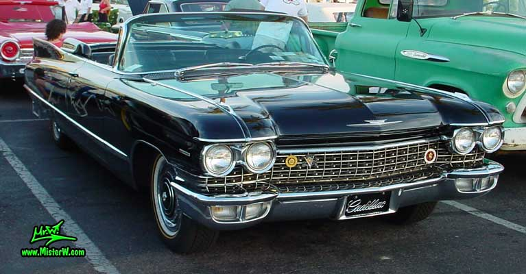 Photo of a black 1960 Cadillac Convertible at the Scottsdale Pavilions Classic Car Show in Arizona. 1960 Caddy Convertible