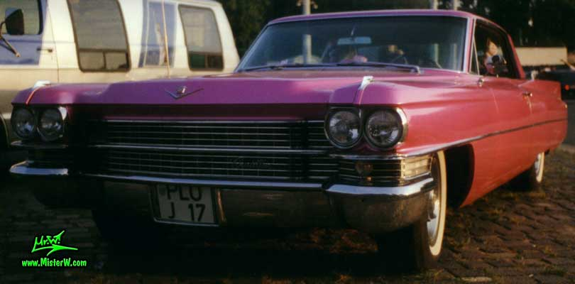 Photo of a pink 1963 Cadillac 2 Door Hardtop Coupe at a classic car meeting in Germany. Pink 1963 Cadillac