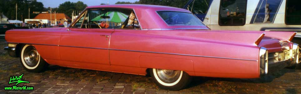 Photo of a pink 1963 Cadillac 2 Door Hardtop Coupe at a classic car meeting in Germany. 1963 Cadillac