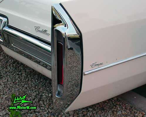 Photo of a white 1966 Cadillac 2 Door Hardtop Coupe at the Scottsdale Pavilions Classic Car Show in Arizona. 1966 Cadillac Rear Bumper