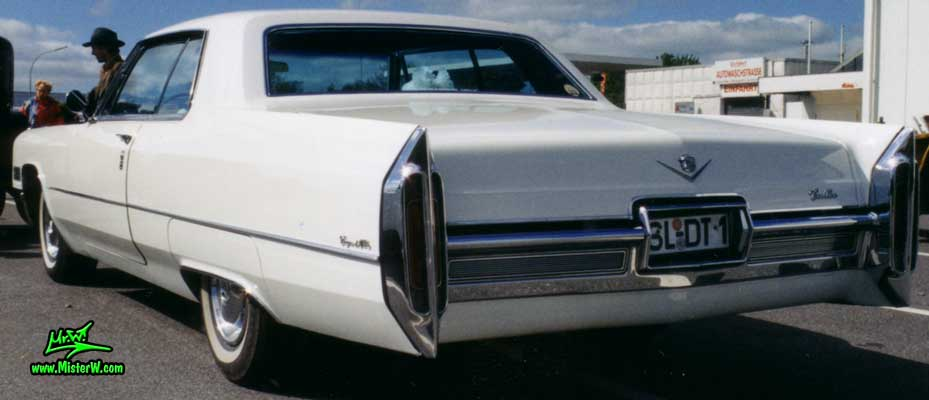 Photo of a white 1966 Cadillac 2 Door Hardtop Coupe at a classic car meeting in Germany. 1966 Cadillac in Germany