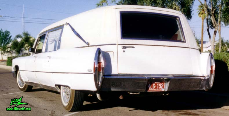 Photo of a white 1968 Cadillac Hearse in Mesa, Arizona. White 1968 Cadillac Hearse