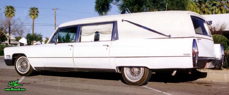 Photo of a white 1968 Cadillac Hearse in Mesa, Arizona. Beautiful 1968 Cadillac Hearse