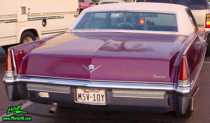 Photo of a red 1969 Cadillac 2 Door Hardtop Coupe DeVille in Mesa, Arizona. 1969 Cadillac Tail
