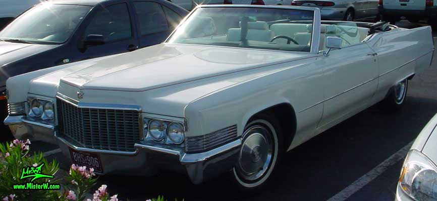 Photo of a white 1970 Cadillac Convertible at the Scottsdale Pavilions Classic Car Show in Arizona. 1970 Cadillac Convertible