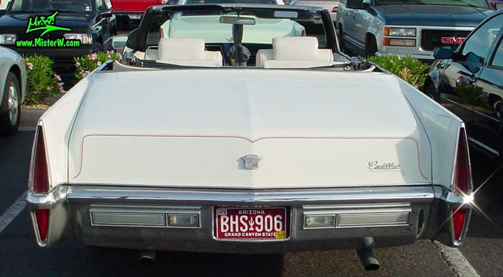 Photo of a white 1970 Cadillac Convertible at the Scottsdale Pavilions Classic Car Show in Arizona. Rear of a 1970 Cadillac Convertible