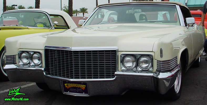 Photo of a white 1970 Cadillac Convertible at the Scottsdale Pavilions Classic Car Show in Arizona. 1970 Caddy