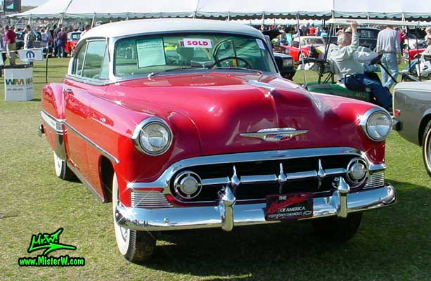 Photo of a red 1953 Chevrolet Bel Air 2 Door Hardtop Coupe at a classic car auction in Scottsdale, Arizona. 1953 Chevrolet Bel Air Coupe