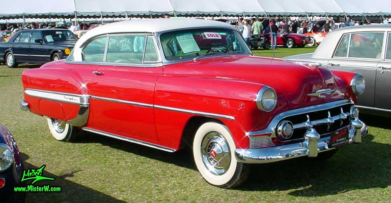 Photo of a red 1953 Chevrolet Bel Air 2 Door Hardtop Coupe at a classic car auction in Scottsdale, Arizona. 1953 Chevrolet Bel Air