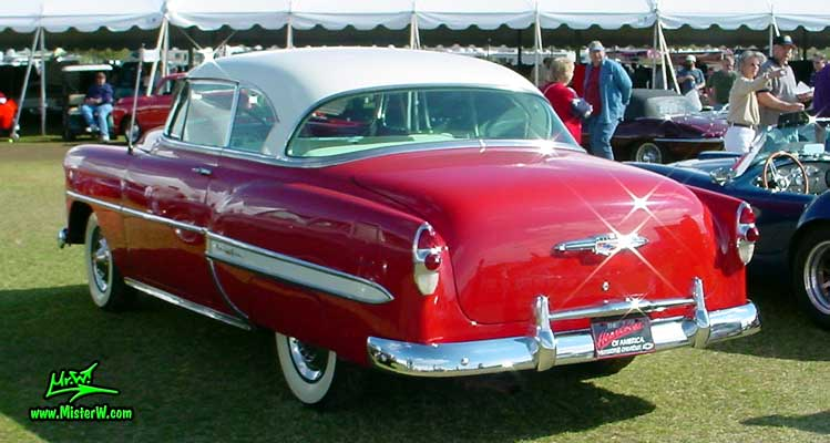 Photo of a red 1953 Chevrolet Bel Air 2 Door Hardtop Coupe at a classic car auction in Scottsdale, Arizona. 1953 Chevy