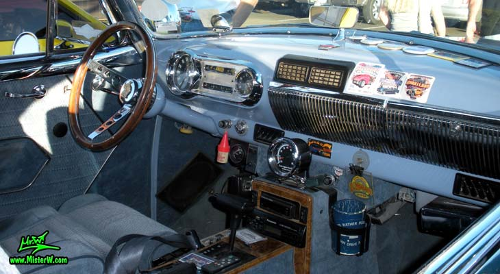 Photo of a blue 1954 Chevrolet Bel Air 2 Door Hardtop Coupe at the Scottsdale Pavilions Classic Car Show in Arizona. 1954 Chevy Interior & Dash