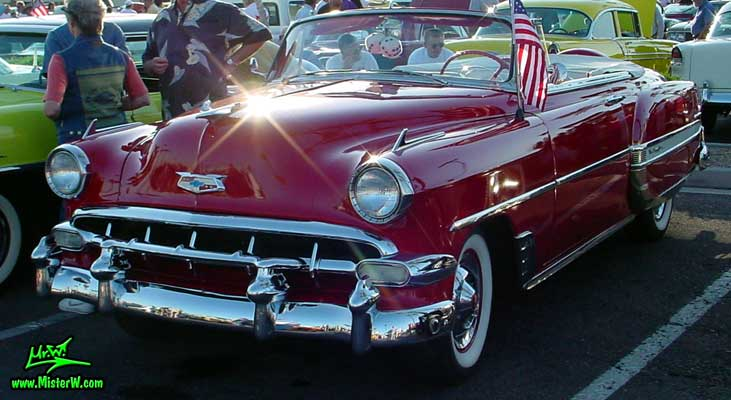 Photo of a red 1954 Chevrolet Convertible at the Scottsdale Pavilions Classic Car Show in Arizona. 1954 Chevy