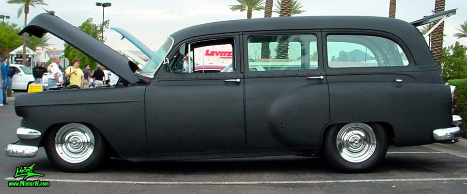 Photo of a flat black 1954 Chevrolet Station Wagon at the Scottsdale Pavilions Classic Car Show in Arizona. 1954 Chevrolet 4 Door Station Wagon