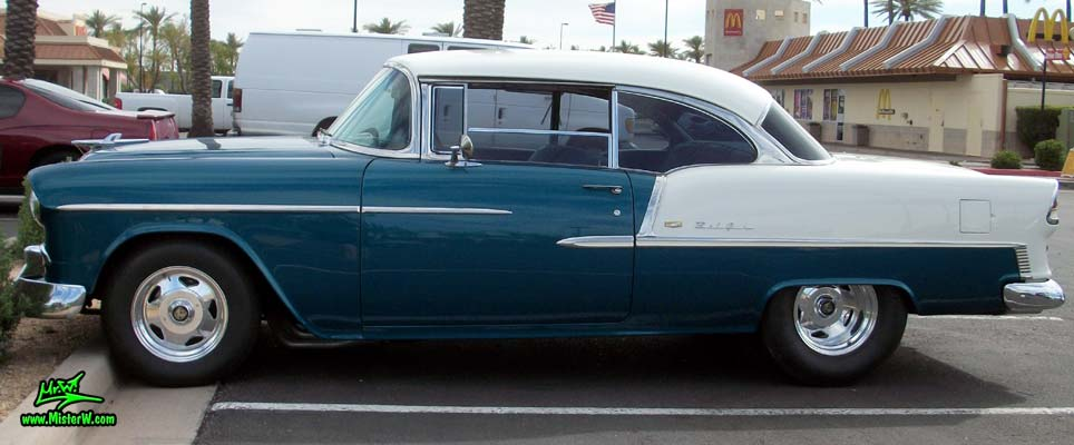 Photo of a blue & white 1955 Chevrolet Bel Air 2 Door Hardtop Coupe at the Scottsdale Pavilions Classic Car Show in Arizona. Beautifully Restored 1955 Chevrolet Bel Air Coupe