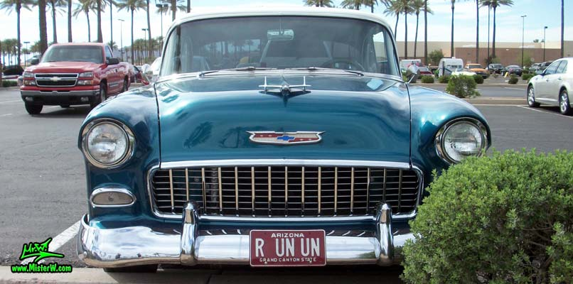 Photo of a blue & white 1955 Chevrolet Bel Air 2 Door Hardtop Coupe at the Scottsdale Pavilions Classic Car Show in Arizona. 1955 Chevrolet Bel Air Coupe Frontview