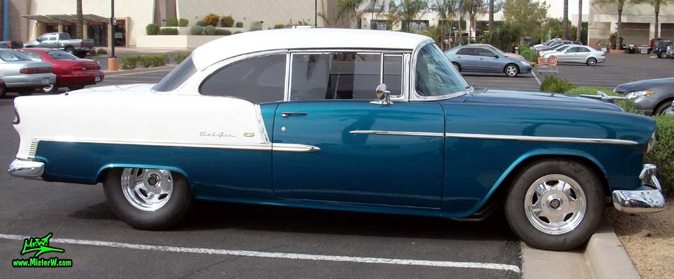 Photo of a blue & white 1955 Chevrolet Bel Air 2 Door Hardtop Coupe at the Scottsdale Pavilions Classic Car Show in Arizona. 55 Chevy Bel Air 2 Door Hardtop