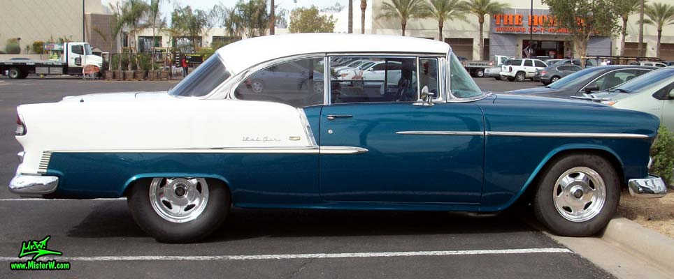 Photo of a blue & white 1955 Chevrolet Bel Air 2 Door Hardtop Coupe at the Scottsdale Pavilions Classic Car Show in Arizona. 1955 Chevrolet Bel Air Coupe Sideview