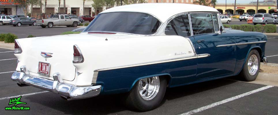 Photo of a blue & white 1955 Chevrolet Bel Air 2 Door Hardtop Coupe at the Scottsdale Pavilions Classic Car Show in Arizona. 55 Chevy Bel Air