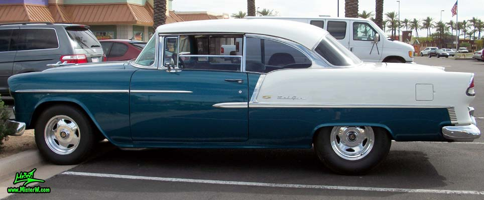Photo of a blue & white 1955 Chevrolet Bel Air 2 Door Hardtop Coupe at the Scottsdale Pavilions Classic Car Show in Arizona. 1955 Chevrolet Bel Air Coupe Tailfin