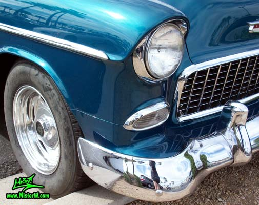 Photo of a blue & white 1955 Chevrolet Bel Air 2 Door Hardtop Coupe at the Scottsdale Pavilions Classic Car Show in Arizona. 1955 Chevrolet Bel Air Coupe Head Light & Blinker