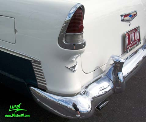 Photo of a blue & white 1955 Chevrolet Bel Air 2 Door Hardtop Coupe at the Scottsdale Pavilions Classic Car Show in Arizona. 1955 Chevrolet Bel Air Coupe Tail Light