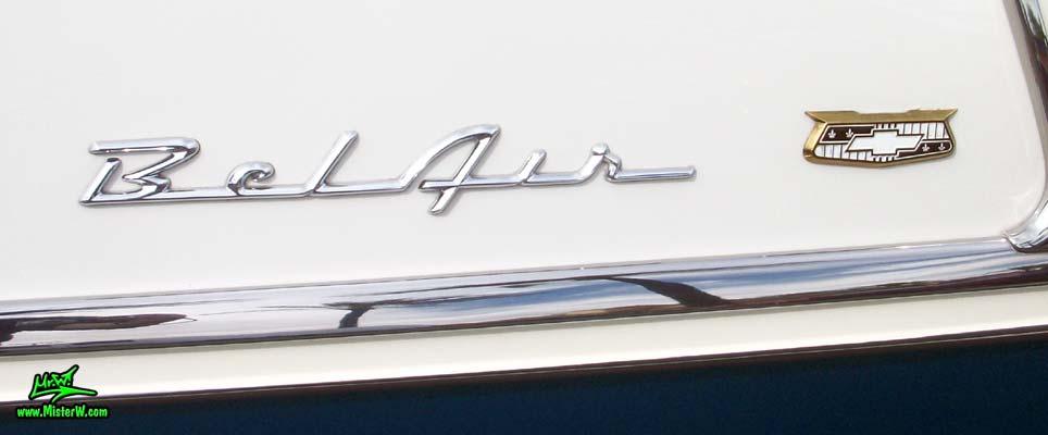 Photo of a blue & white 1955 Chevrolet Bel Air 2 Door Hardtop Coupe at the Scottsdale Pavilions Classic Car Show in Arizona. 1955 Chevrolet Bel Air Coupe Chrome Emblem