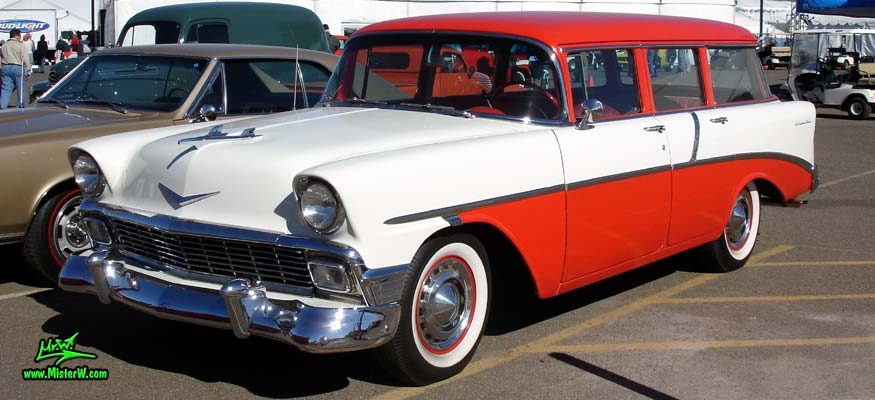Photo of a white & red 1956 Chevrolet 4 Door Station Wagon at a classic car auction in Scottsdale, Arizona. 56 Chevrolet 4 Door Stationwagon