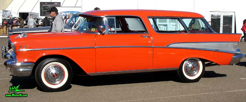 Photo of a red 1957 Chevrolet Bel Air Nomad 2 Door Station Wagon at a classic car auction in Scottsdale, Arizona. 1957 Chevrolet Bel Air Nomad Station Wagon