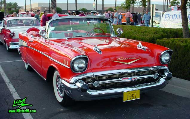 Photo of a red 1957 Chevrolet Bel Air Convertible at the Scottsdale Pavilions Classic Car Show in Arizona. 57 Bel Air