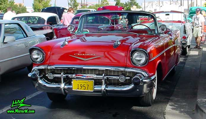 Photo of a red 1957 Chevrolet Bel Air Convertible at the Scottsdale Pavilions Classic Car Show in Arizona. 57 Chevy Convertible
