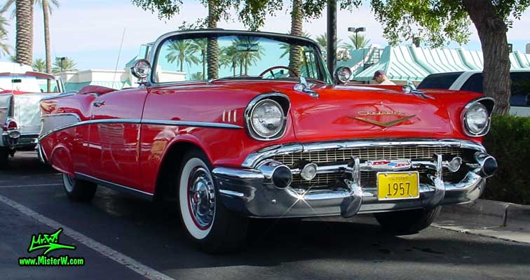 Photo of a red 1957 Chevrolet Bel Air Convertible at the Scottsdale Pavilions Classic Car Show in Arizona. Red Chevy