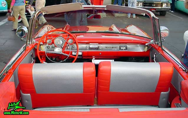 Photo of a red 1957 Chevrolet Bel Air Convertible at the Scottsdale Pavilions Classic Car Show in Arizona. 1957 Chevy Interior