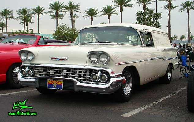 Photo of a white 1958 Chevrolet Delray Sedan Delivery 2 Door Station Wagon at the Scottsdale Pavilions Classic Car Show in Arizona. 1958 Chevrolet Delray Sedan Delivery