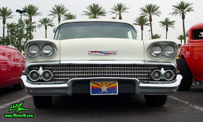 Photo of a white 1958 Chevrolet Delray Sedan Delivery 2 Door Station Wagon at the Scottsdale Pavilions Classic Car Show in Arizona. 1958 Chevrolet Grill