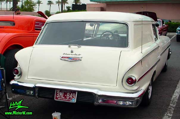 Photo of a white 1958 Chevrolet Delray Sedan Delivery 2 Door Station Wagon at the Scottsdale Pavilions Classic Car Show in Arizona. 1958 Chevy Delray