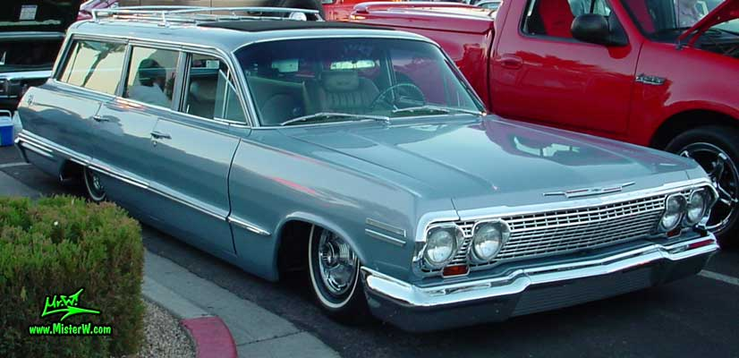 Photo of a silver grey 1963 Chevrolet Stationwagon at the Scottsdale Pavilions Classic Car Show in Arizona. 1963 Chevrolet Stationwagon