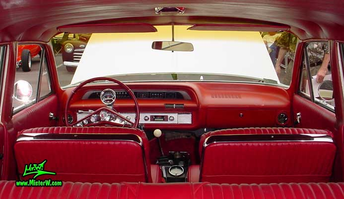 Photo of a white 1964 Chevrolet Stationwagon at the Scottsdale Pavilions Classic Car Show in Arizona. 1964 Chevrolet Interior & Dash Board