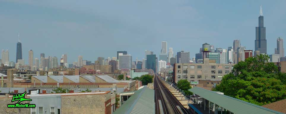 Photo of the downtown Chicago high rise skyscraper skyline, taken from the green line, Ashland / Lake Train Station in summer 2004 Skyline of Downtown Chicago