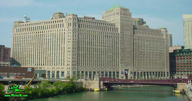 Photo of the historic Chicago Merchandise Mart in downtown Chicago, taken from a green line subway train in summer 2004 Chicago Merchandise Mart in Downtown Chicago